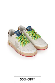 Kids White & Camouflage Leather Ball Star Trainers