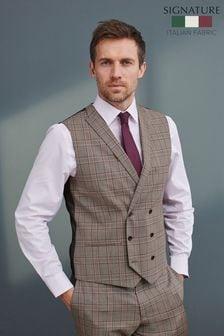 Grey Check Signature T G Di Fabio Fabric Suit: Waistcoat
