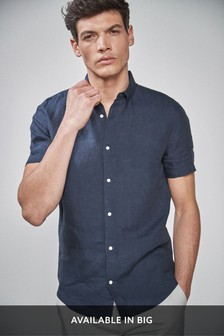 Navy Regular Fit Short Sleeve Linen Shirt