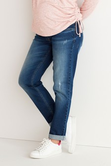 Mid Blue Maternity Relaxed Skinny Jeans