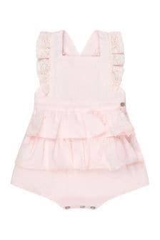 Tartine et Chocolat Baby Girls Pink Cotton Romper