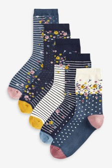 Blue Floral Ankle Socks 5 Pack