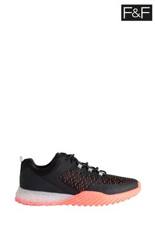 F&F Older Boys Black/Orange Fashion Trainers