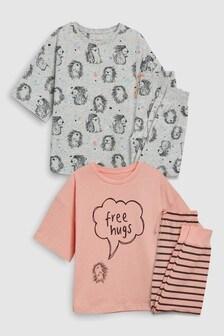 Розовый Серый Набор пижамных комплектов с рисунком ежиков (2 компл.) (3 86eaf2c1d6fa9