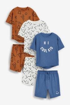 Multi Cool Kid 3 Pack Short Pyjamas (9mths-12yrs)
