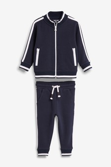 Navy Funnel Neck Zip Through And Joggers Set (3mths-7yrs)