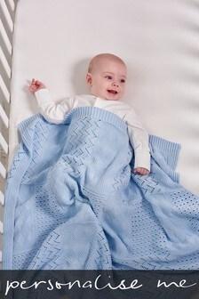 Personalised Blue Knit Blanket