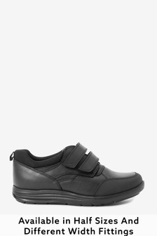 Black Standard Fit Leather Double Strap Shoes (Older)