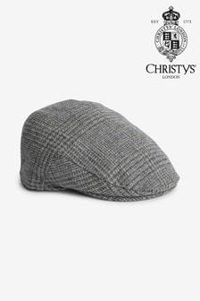 Grey Check Christys' London Flat Cap