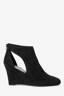 Black Forever Comfort® Square Toe Wedge Boots