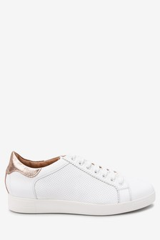White With Metallic Back Signature Leather Lace-Up Trainers