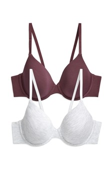Grey Marl/Plum Holly Lightly Padded Modal Full Cup Bras Two Pack