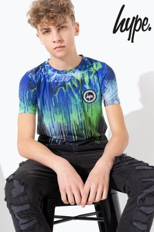 Hype. Blue/Green Multi Graffiti Drips T-Shirt