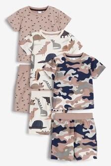 Neutral Dinosaur/Camo 3 Pack Short Pyjamas (9mths-8yrs)