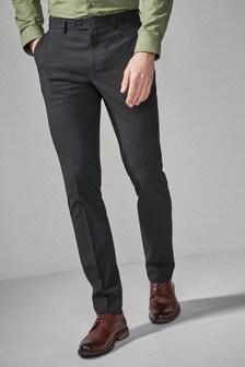 Black Slim Fit Stretch Tonic Suit: Trousers
