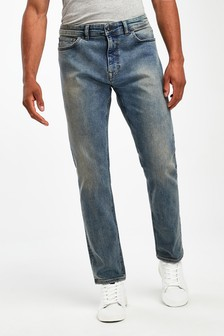 Dirty Wash Slim Fit Jeans With Stretch
