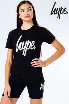 Hype. Black Script Kids T-Shirt And Cycle Shorts Set