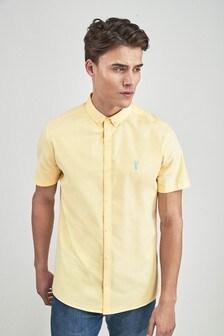 3e6cba3f50 ... White Slim Fit Short Sleeve Stretch Oxford Shirt ...