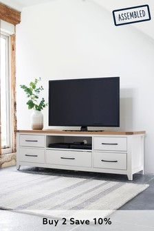 White Thornley Wide TV Stand
