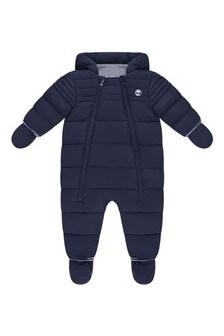 Baby Boys Navy Polar Lined Snowsuit