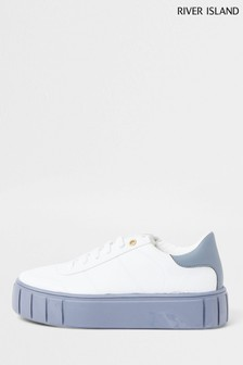 River Island Blue Contrast Sole Trainers
