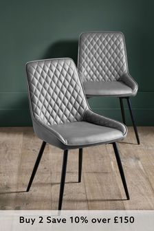 Monza Faux Leather Silver Set of 2 Hamilton Dining Chairs with Black Legs