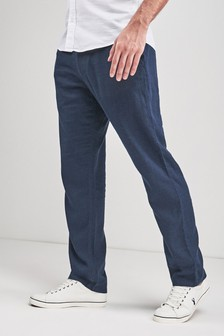 Navy Linen Blend Drawstring Trousers