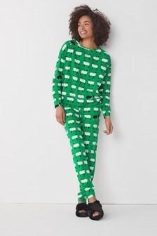 Green Sheep Cotton Pyjamas