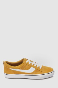 Ochre  Suede Lace-Up Trainers
