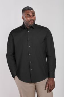 Black Plus Fit Single Cuff Easy Care Shirt