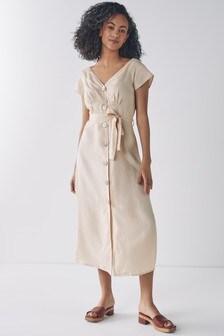 Natural Linen Shirt Dress