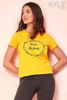 Kylie Yellow Floral Slogan Print T-Shirt