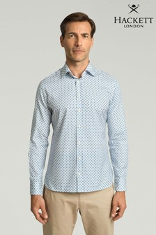 Hackett Blue Star Geo Oxford Print Shirt