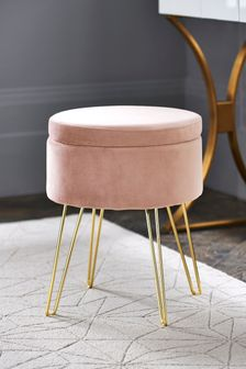 Opulent Velvet Blush Storage Stool