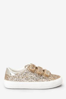 Gold Glitter Touch Fastening Trainers (Older)