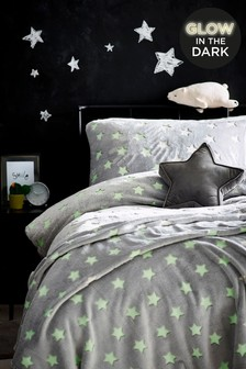 Glow In The Dark Fleece Stars Duvet Cover and Pillowcase Set