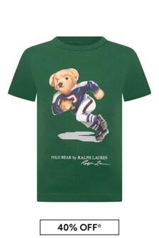 Boys Green Cotton Jersey Bear T-Shirt
