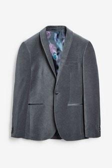 Grey Slim Fit Velvet Jacket