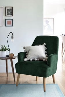 Opulent Velvet Bottle Green Cindy Accent Chair With Walnut Effect Legs