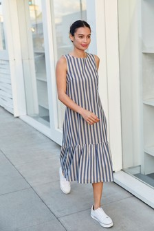 Blue Stripe Tiered Midi Dress