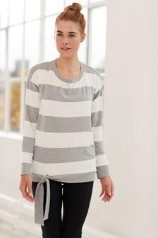 Grey/Ecru Stripe  Tie Side Sweater