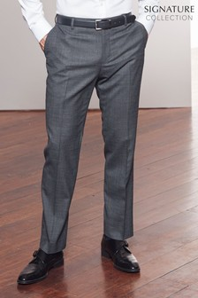 Charcoal Tailored Fit Signature Wool Blend Stretch Flannel Trousers