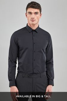 Black Skinny Fit Single Cuff Easy Care Shirt