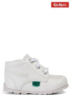 Kickers White Kick Hi Baby Zip Shoes