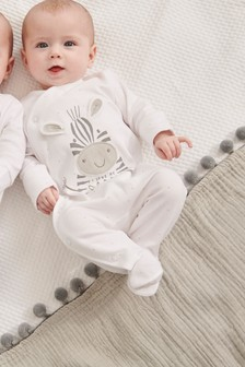 White I Love My Daddy Zebra Sleepsuit (0-18mths)