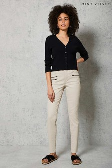 Mint Velvet Cream Denver Coated Jeans