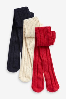 Red/Blue/Ecru 3 Pack Cable Tights (0mths-2yrs)