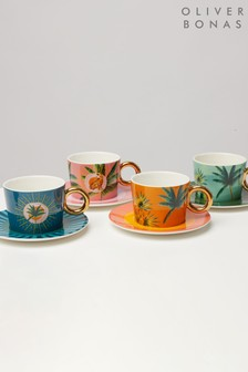 Oliver Bonas Set Of 4 Sol Ceramic Tea Cup and Saucers