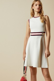 Ted Baker Cream Apryll Knitted Sleeveless Skater Dress
