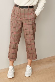 Red Check Belted Culottes